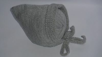 NEW Baby Infant Grey Hand Knitted Crochet Hat Beanie Bonnet Pixie 0-3 mths