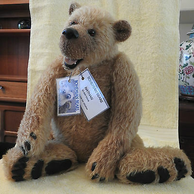 """19"""" (48cm) mohair Bohemian bear """"Nathan"""" by Amy Young"""