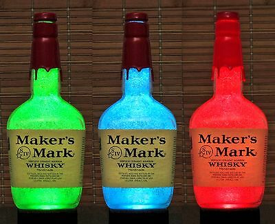 Makers Mark Whiskey Remote Color Changing LED Bottle Lamp Light  Bar Kentucky