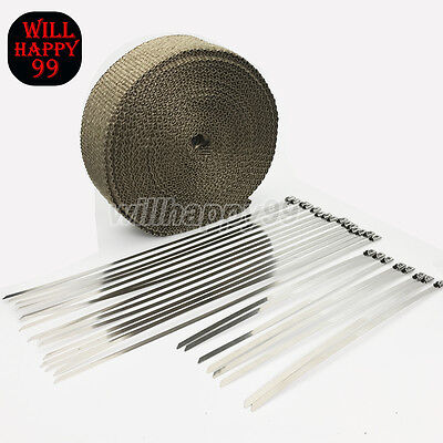 "23 Stainess Ties 2"" 50Ft  Lava Fiber Titanium Exhaust Header Pipe Heat Wrap Tape"
