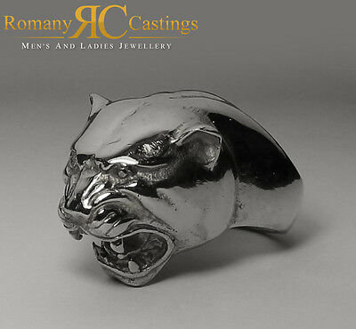 Solid Sterling STAMPED 925 Silver Highly Polished Panther Head  Ring 41 grams