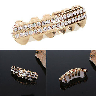 Hip Hop Gold Plated Rhinestones Teeth Top Fangs Grill Grillz Halloween Gift