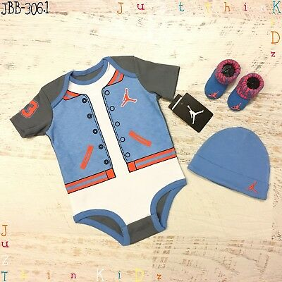 Jordan/ Nike 0-3M/ 3-6M Baby Girl Boy 3 Pieces Bodysuit/ Beanie/ Socks Set