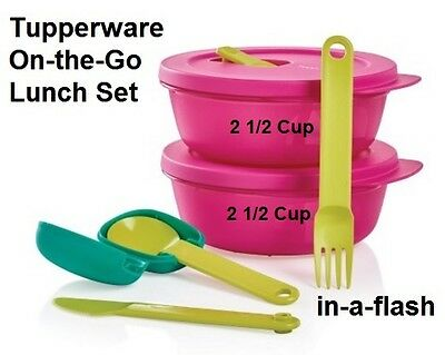Tupperware ON THE GO LUNCH SET 2 CrystalWave Containers & Cutlery Set with Case!
