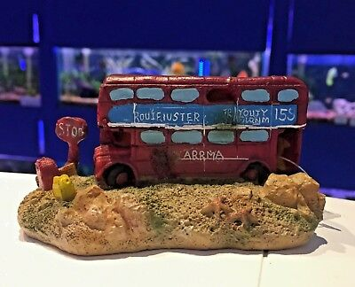 GB London Bus Aquarium Ornament Goldfish Bowl Fish Tank Decor MS797