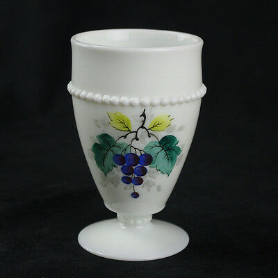 Westmoreland Beaded Edge Grapes Footed Tumbler, Milk Glass White, Painted Fruit