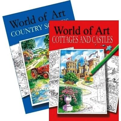 Relaxing Adult Colouring Books World of Art Country Scenes Cottages Castles