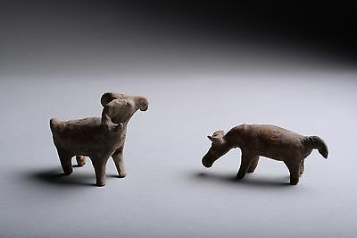 Pair of Ancient Chinese Western Han Dynasty Rams - 206 BC