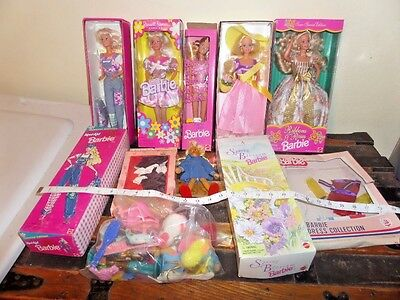 BIG MIB 5 Barbie Doll NRFB Spring Blossom Russell Stover Special Ed + Extras LOT