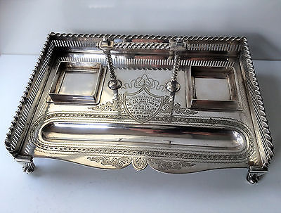 Edwardian Antique Inkwell & Pen Desk Stand, Silver Plate, Church Connection.