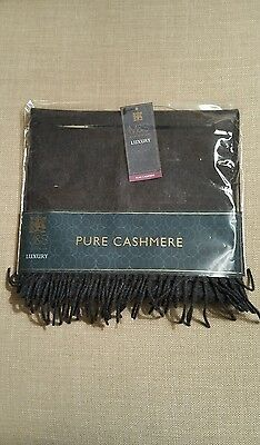 New Marks And Spencer Mens 100% Cashmere Scarf Charcoal Christmas Present