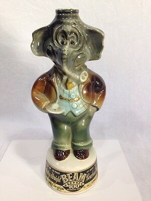 Vintage 1960s Jim Beam Republican Elephant Whiskey Decanter - Empty