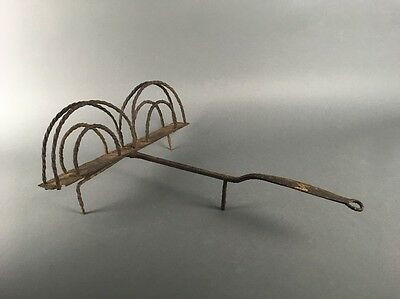 Antique 18th Century Colonial American Primitive Wrought Iron Hearth Toaster