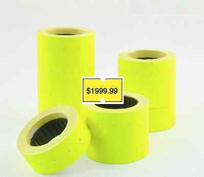 100 Fluro Fluoro Pricing Price Tag Tagging Gun Label Rolls Bulk Yellow
