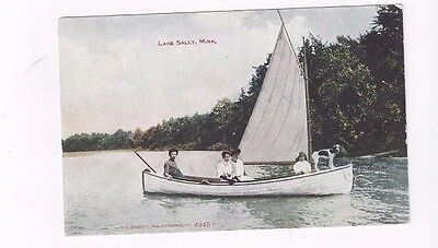 MN Lake Sally Minnesota antique 1908 db post card People & Dog in Sailboat