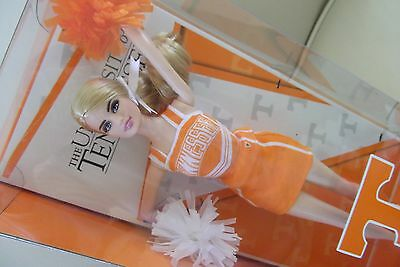 Tennessee University Cheerleader Pink Label Barbie Doll & Orange White Pompoms