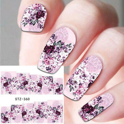 Nail Art Water Decals Stickers Decoration Purple Flowers Roses Gel Polish (360)
