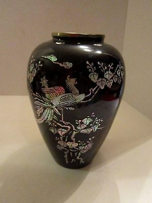 "Vase Mother Of Pearl Inlaid Vintage Enamel Over Brass 8-3/4"" Tall. Birds."