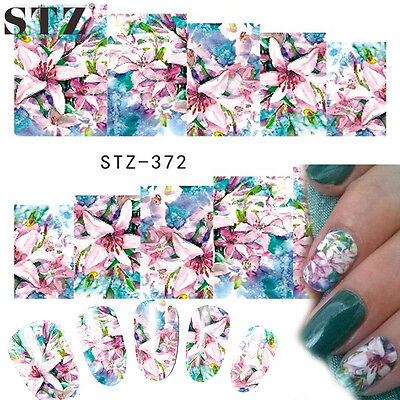 Nail Art Water Decals Stickers Transfers Pink Blue Flowers Lily Gel Polish (372)