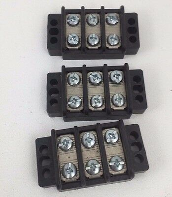 Lot of 3 Eaton TB200-03SP 2-Row 3-Position Terminal Block Rated 300V @ 30A