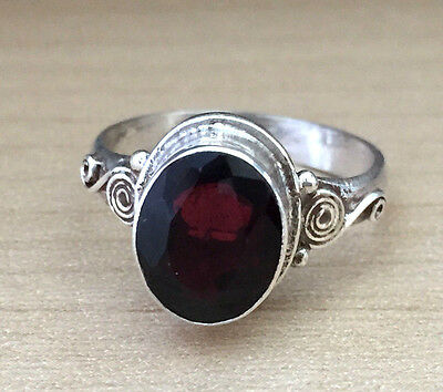 Traditional Sterling Silver Asian Vintage Style Garnet Stone Ring Size N1/2 Gift