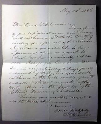 Thomas Powell, Samoa, Missionary, Naturalist, ALS, SIGNED letter, 1886
