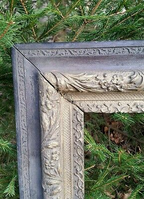LARGE Ornate VICTORIAN Flower & ACANTHUS Hand Carved Antique Painting Frame