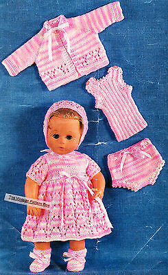 """BABY DOLL SET 6 pieces /  for 14"""" 36cm QUICK KNIT- COPY doll knitting pattern"""