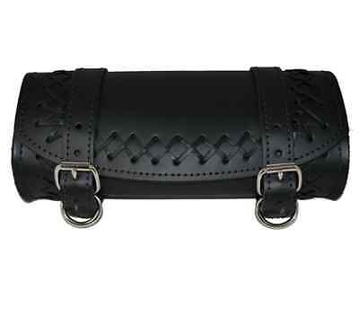 Universal Front Forks Tool Bag Black Cross Laced Leather La Rosa