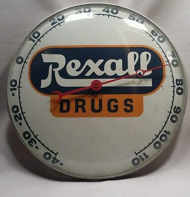 Vintage Rexall Drugs Thermometer - Neon Ray Clock Co. c. 1950's Mid Century Sign