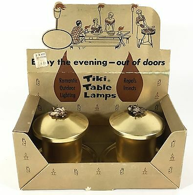 Vintage Tiki Table Lamps Torches Original Display Packaging