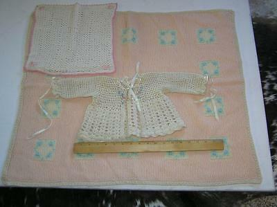 Vintage 1900's Baby Girl Toddler  KNIT Crochet Sweater Blanket and small towel