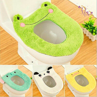 Washable Cartoon O Shaped Toilet Seat Cover Polyester Warmer Overcoat Tool