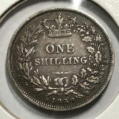 1859 Great Britain Silver One Shilling Better Grade  Coin