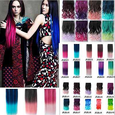 Cosplay Synthetic Clip-On Hair Extensions Curly Straight Rainbow   Colorful Club