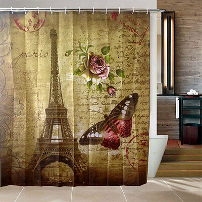 Waterproof Paris Eiffel Tower Bathroom Fabric Bath Shower Curtain Tools
