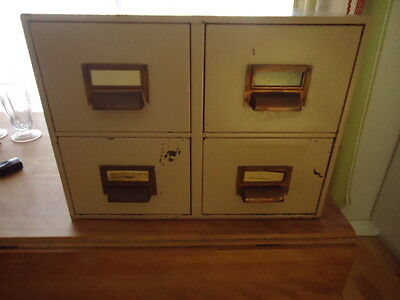 "HEAVY VINTAGE 4 DRAWER METAL FILING CABINET 13 3/4' x 17"" WIDE X 18 3/8"" ACROSS"