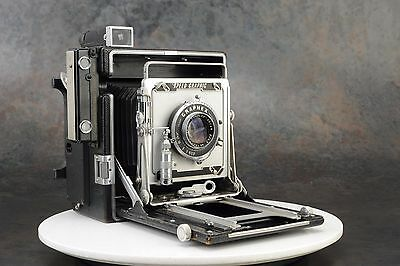 = Graflex Speed Graphic 4x5 Large Format Film Camera with Optar 135mm f4.7 Lens