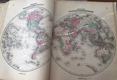 1864 WORLD HEMISPHERE MAP OLD ANTIQUE ORIGINAL JOHNSON'S ATLAS MAP Hand Colored