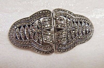 Vintage Duet Brooch/Pin Pair of Dress Clips Sterling Silver & Marcasite