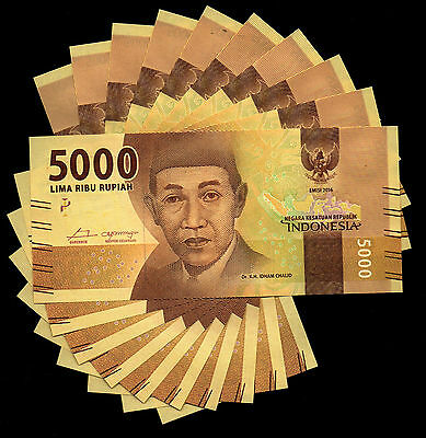 Indonesia 5000 Rupiah 2016 NEW Banknote x 10 NOTES