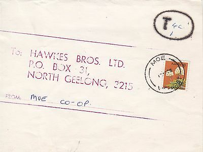 Stamp Australia 18c wattle on home made wrapper 1975 Moe Co-op taxed to Geelong