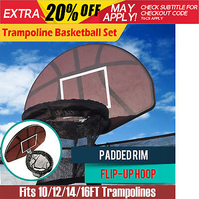 New Trampoline Basketball Set Hoop Ring Backboard Fits 10/12/14/15/16 FT