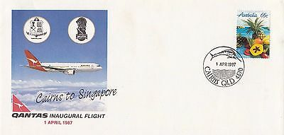 Stamp Australia 1987 QANTAS Airlines Cairns to Singapore inaugural flight cover