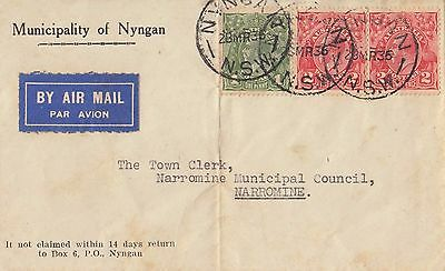 Stamps 2x2d & 1d KGV on Municipality of Nyngan cover sent airmail to Narromine
