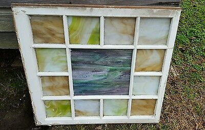 Vintage Sash Antique Wood Window Frame Old Church Rustic Stained Glass