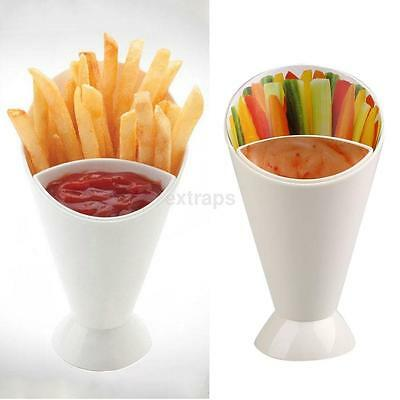 White Snack Cone Stand Dip Holder For Fries Chips Finger Food Sauce Vegetable US