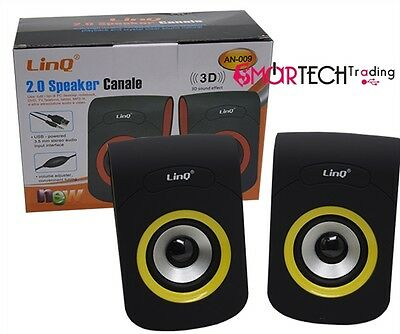 Casse Speaker Usb Jack 3,5 3W Notebook Pc Linq An-009
