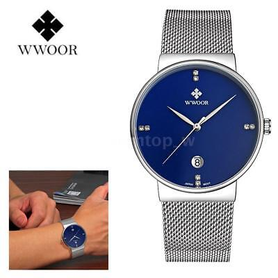 WWOOR Men's Stainless Steel Mesh Rhinestone Date Analog Quartz Wrist Watch+Box