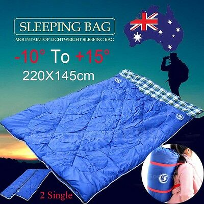 Double Outdoor Camping Twin Sleeping Bags Thermal Sports Tent Hiking Climbing AU